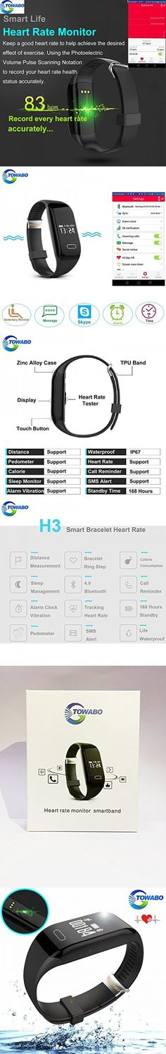Towabo Fitness Tracker Wristband with Heart Rate monitor Activity Watch Step Walking Sleep Counter Pedometer Exercise for Android and iOS Fitness Band, Heart Rate Monitor, Fitness Tracker, Counter, Ios, Android, Walking, Sleep, Exercise