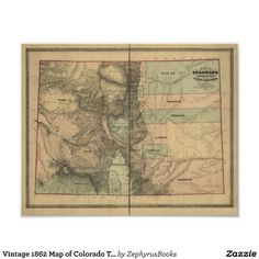 Vintage 1862 Map of Colorado Territory Posters
