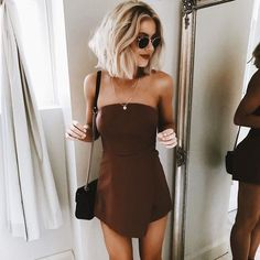 Cute little brown off the shoulder dress.