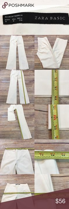 💧Medium Long Zara Ivory Straight Leg Dress Pants Measurements are in photos. Normal wash wear, has a light mark on the front, no other flaws. A4/56  I do not comment to my buyers after purchases, due to their privacy. If you would like any reassurance after your purchase that I did receive your order, please feel free to comment on the listing and I will promptly respond.   I ship everyday and I always package safely. Thank you for shopping my closet! Zara Pants Straight Leg