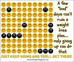 """We all have our """"bad"""" days when we slide off our weight loss/workout plan. That's OK! Just keep going!!! You can still reach your goals!"""