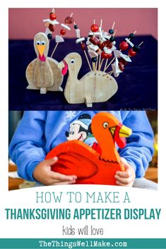How to make a turkey display for Thanksgiving appetizer skewers. Kids will love this project, and it may even help them eat their veggies. #thanksgiving #thansgivingcrafts #thanksgivingrecipes #thanksgivingfood #thanksgivingappetizers #turkey #turkeycrafts #thethingswellmake #miy Fun Diy Crafts, Bee Crafts, Cool Diy Projects, Crafty Projects, Appetizer Skewers, Appetizer Display, Healthy Side Dishes, Healthy Meals, How To Make Turkey