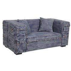 denim couch | Distressed Denim 2 Seater Sofa Settee
