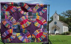 third floor quilts: my double wedding ring at the Round Top wedding chapel