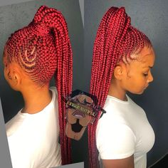 African Hair Braiding : Braids ideas for African American Women - Beauty Haircut Braided Ponytail Hairstyles, Braided Hairstyles For Black Women, African Braids Hairstyles, Hairstyles With Bangs, African Hair Braiding, Mohawk Braid, Protective Hairstyles, Black Girl Braids, Braids For Black Women