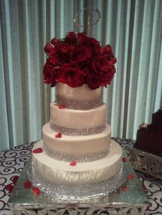 wedding cakes with red roses and bling my photo album white wedding cakes wedding 26098