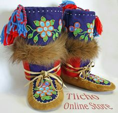 Mukluks from Northwest territories, Tlicho online store. Indian Beadwork, Native Beadwork, Native American Beadwork, Moccasins Outfit, Baby Moccasins, Native American Moccasins, Beaded Moccasins, Native Design, Nativity Crafts
