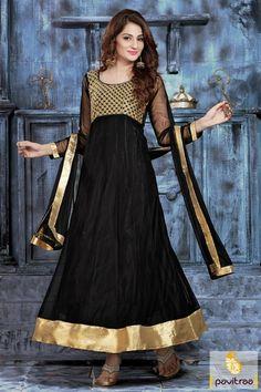 9f3ab72af3 Women s Clothing - Ethnic Wear Net Black Anarkali Suit - - PRODUCT Details  : Style : Semi Stitched Party Wear Anarkali SuitDefault Size : Free Size (  Semi- ...