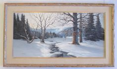 Don Langford Large Vintage Winter Sunset Wooded Landscape Impressionism Painting | eBay