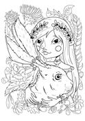 A Girl with Rabbit Coloring page