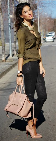 Fall / Winter - street chic style - olive silk shirt + black leather skinnies + nude handbag + nude stilettos + brown belt