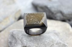 Druzy agate ring carved brown gemstone all stone chunky unique hand made us9 #Handmade #Carved