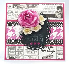 the ribbon reel challenge blog: Challenge #36 VINTAGE Black, White & Pop of Pink!