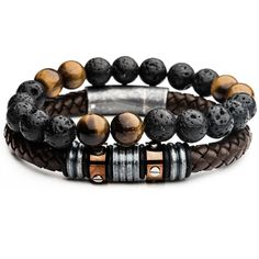 MASON Leather and Bead Mens Bracelet Stack w/ Black Lava and Tiger Eye