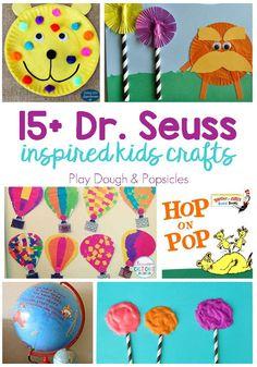 Seuss Crafts For Kids. Fun ideas for Read Across America Week or Dr. Dr. Seuss, Dr Seuss Week, Toddler Arts And Crafts, Easy Crafts For Kids, Dr Seuss Activities, Preschool Activities, Book Activities, Preschool Books, Preschool Lessons