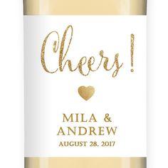"""Mila"" White + Gold Glitter Wedding Wine Label"