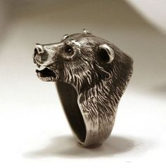 Bear+head+sterling+silver+925+ring+from+YK+by+yurikhromchenko,+$140.00
