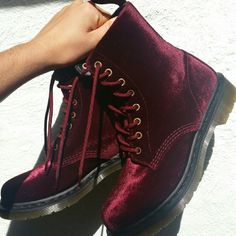 Dr. Martens 8-eye Boots Cherry red velvet, 8-eye Doc's. As good as the day I got them as you can see from the picture of the soles! Dr. Martens Shoes Combat & Moto Boots