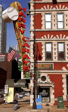 Harry Caray's Restaurant, Chicago, Illinois, USA Harry Caray was a famous Chicago baseball announcer. Chicago Travel, Chicago City, Chicago Style, Chicago Illinois, Chicago Baseball, Chicago Vacation, Chicago Area, Harry Caray Restaurant, Restaurant Bar