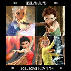 """""""So, I found a picture of Elsa if her powers had been fire instead of ice then decided to alter her into the remaining two elements."""""""