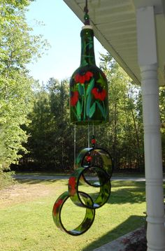 Wind Chime, Red Susan, made from recycled wine bottle -  fashioned  into a Wine-Chime! on Etsy, $30.00