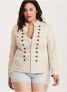 """No boot camp required with this jacket. Inspired by boots-on-the-ground military style, the beige twill zip front style suits up with embossed military buttons and piping. While the zip provides a form fit, the twill is surprisingly stretchy and the peplum hem adds tummy-flattering flare.<div><br></div><div><b>Model is 5'10"""", size 1<br></b><div><ul><li style=""""list-style-position: inside !important; list-style-type: disc !important"""">Size 1 measures 28"""" from shoulder</li><li style=..."""