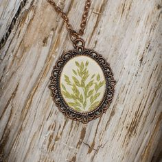 Real pressed green grass oval pendant Botanical floral