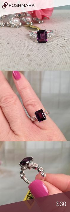 💞Amethyst and White Topaz Sterling Silver Ring💞 Just in time for Valentines Day.  Comes with gift box ready for gift giving!  Absolutely gorgeous amethyst and white topaz sterling silver ring. Stamped .925 and is new with tags. Size 5. Offers are always welcome.  BQR16 Jewelry Earrings