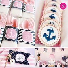 pink blue nautical bridal shower