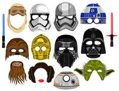 Star Wars Masks inspired digital photo booth by DigitalPhotoBooth Party Characters, Disney Characters, Star Wars Masks, Darth Vader Mask, Walking Staff, Star Wars Party, Star Wars Tshirt, Photo Booth Props, Chewbacca