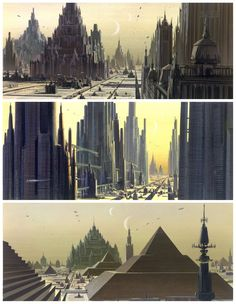 ROTJ: Several Ralph McQuarrie sketches showing views of Coruscant --- the political center of the universe. Coruscant was the capital of the Republic, an entire planet evolved into one city. The bottom of the three images shows the Imperial Palace on Coruscant.