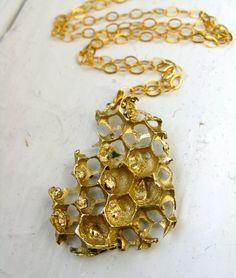 Gold Small Honeycomb Necklace  Real Honeycomb by RedbudJewelry