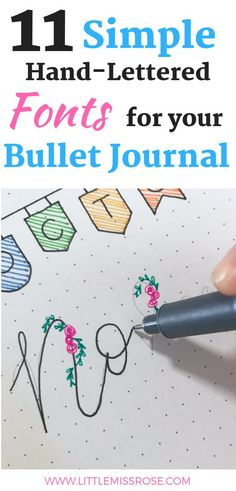 Learn how to create 11 simple hand-lettered fonts for your bullet journal with this step by step guide. This tutorial is great for absolute beginners. Key Bullet Journal, Bullet Journal Spreads, Bullet Journal Hand Lettering, Bullet Journal For Beginners, Bullet Journal Writing, Bullet Journal Layout, Bullet Journal Ideas Pages, Bullet Journal Inspiration, Bullet Journals