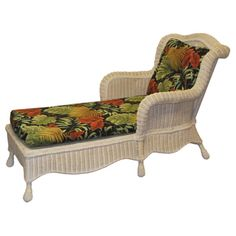 @Overstock.com - Lyla Hand-woven White Wicker/ Floral Cushion Chaise Lounges (Set of 2) -