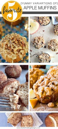 It's time to go apple picking! Use all those yummy apples to try out these most delicious apple muffin recipes. 5 fabulous variations on the basic apple muffin recipes...they will melt in your mouth!