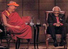 The Dalai Lama and Archbishop Desmond Tutu, Nobel Peace Prize laureates. Man Of Peace, 14th Dalai Lama, Power Walking, Spiritual Music, Desmond Tutu, Sense Of Life, Nobel Peace Prize, Weird Pictures, How To Do Yoga