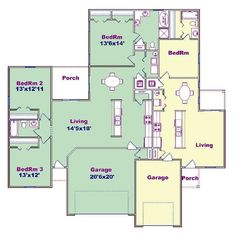 Duplex plan PlanSource, Inc Large Family Rooms, Home And Family, Story Planning, Duplex House Plans, 3 Car Garage, Shared Bedrooms, House Layouts, Plan Design, Porch