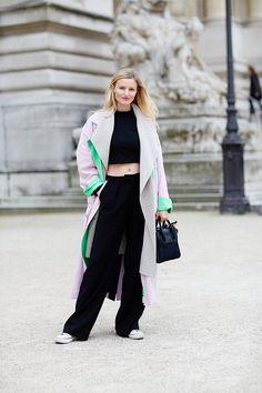 Paris Fashion Week looks, Candice Lake, long oversized coat