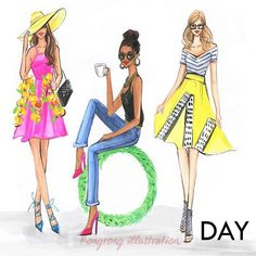 Fashionable street style illustrations by Houston fashion illustrator Rongrong DeVoe #fashionillustration #fashionillustrator