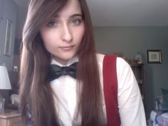 I got my first real bow tie today! I tied it on my second try, but I don't think it's perfect. Anyway, I'm just excited that I can tie one now. :P
