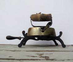 Rustic Farmhouse Decor Antique Sad Iron with Unique Trivet
