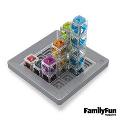Gravity Maze: Kids put their engineering skills to the test, using colorful towers to construct various marble runs. Cards presenting 60 building challenges (ranging in difficulty from beginner to expert) are included.