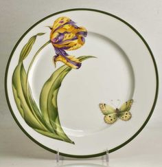 Butterfly Floral Tulip Dinner Plate  Butterfly Floral  by Anna Weatherley