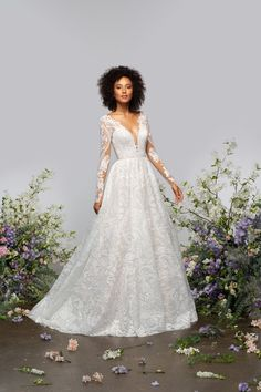 Style 62107 Dalton Hayley Paige bridal gown - Palermo embroidered A-line gown, deep V-neckline and sheer long sleeves, open keyhole back with applique accent, full A-line skirt with ivory sparkle embroidery over cashmere lining. Bridal Dresses, Wedding Gowns, Lace Wedding, Dream Wedding, Wedding Bells, Garden Wedding, Perfect Wedding, Prom Dresses, Tulle Ball Gown