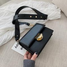 Designer Square Faux Leather Crossbody Handbags with Gold Clasp Vegan Leather, Pu Leather, Black Leather, London Bags, Small Crossbody Bag, Black Cross Body Bag, Small Bags, Hermes Kelly, Shoulder Strap