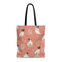 Our leafy pug design is a unique watercolor pattern featuring an adorable pug, butterflies and tropical leafs. This tote bag is perfect for shopping, the beach Pug Accessories, Watercolor Pattern, Pugs, Reusable Tote Bags, Backpacks, Collection, Products, Pug, Backpack