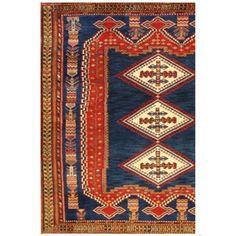Tribal Persian Afshar, bold geometric motif natural dyes.