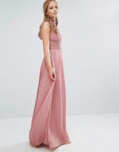Image 4 ofTFNC WEDDING Pleated Maxi Dress with Lace Detail