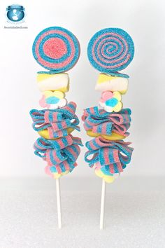 Pastel Candy Kabobs made with cotton candy sour belts by Sweets Indeed