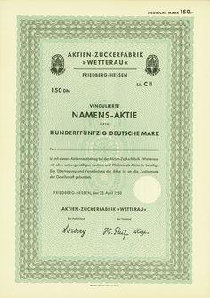 """HWPH AG - Historische Wertpapiere - Actien-Zuckerfabrik """"Wetterau"""" / Friedberg-Hessen, 22.04.1953, Blankett einer Vinkulierten Namensaktie Lit. C II über 150 DM, o. Nr.,"""
